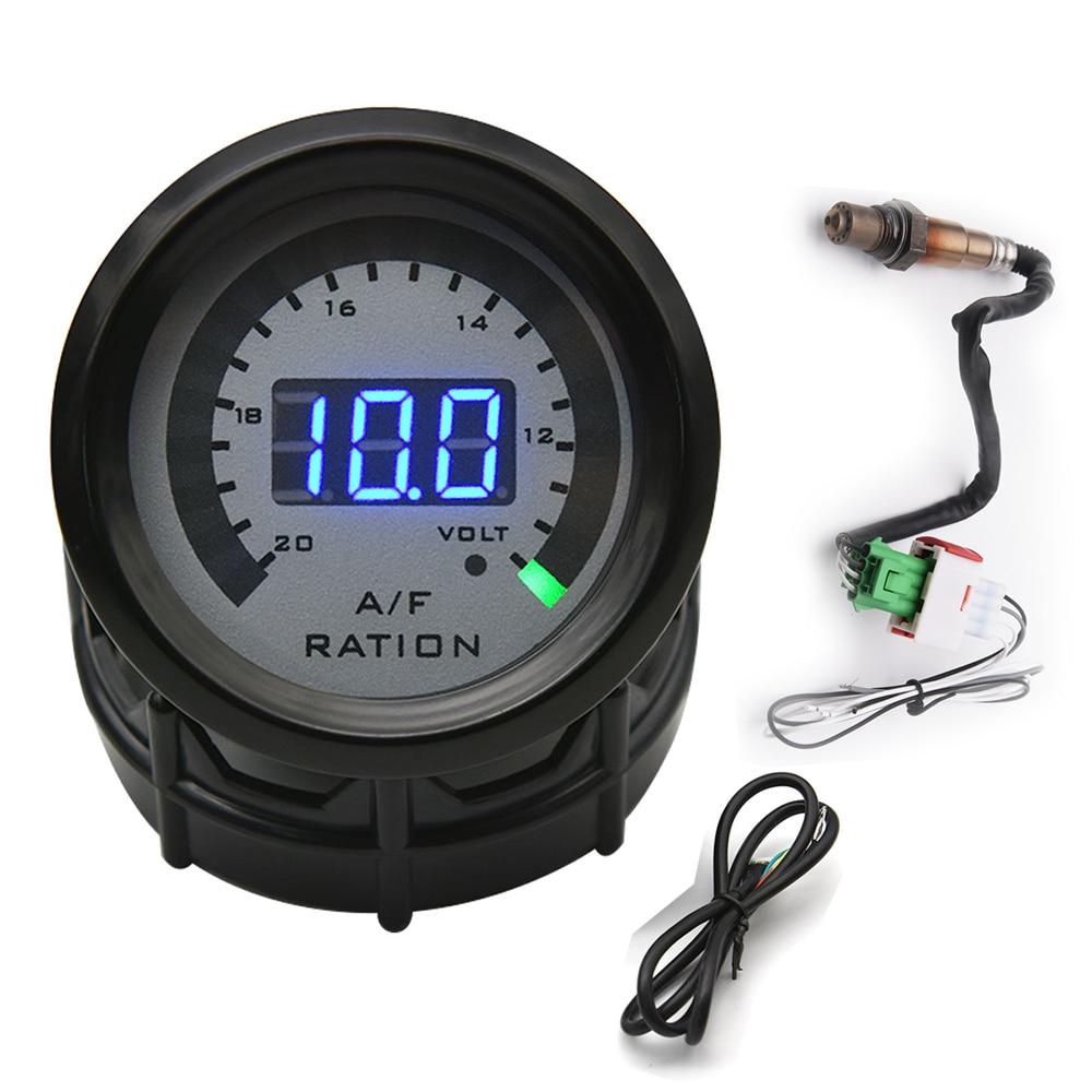Air Fuel Ratio Gauge With Narrowband O2 Oxygen Sensor 0258006028 Car Racing Gauge 52MM Digital Voltmeter 2 in 1 for 12V Car Volt