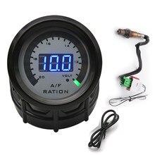 Medidor da relação do combustível do ar com sensor de oxigênio o2 narrowband 0258006028 carro que compete o calibre 52mm voltímetro digital 2 em 1 para o volt do carro 12v