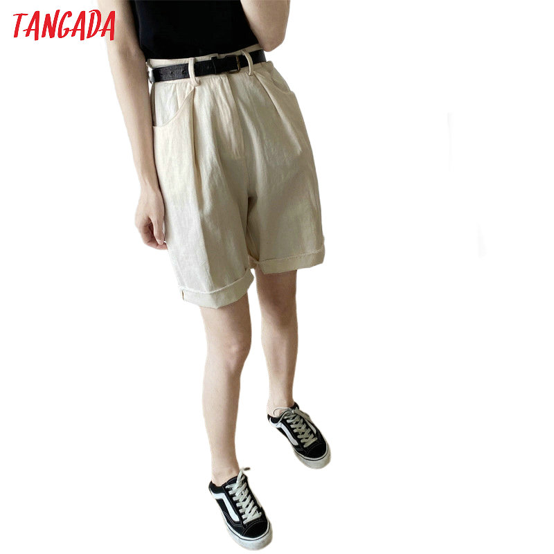 Tangada Women Elegant Solid Cotton Shorts With Belt Pockets Female Retro Basic Casual Shorts Pantalones ATC23