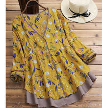 Fashion Women Vintage 70s Ethnic Gypsy Boho Mini Flower Printing Peasant Hippie Mexican Blouse Retro V-Neck Long Sleeve Top(China)