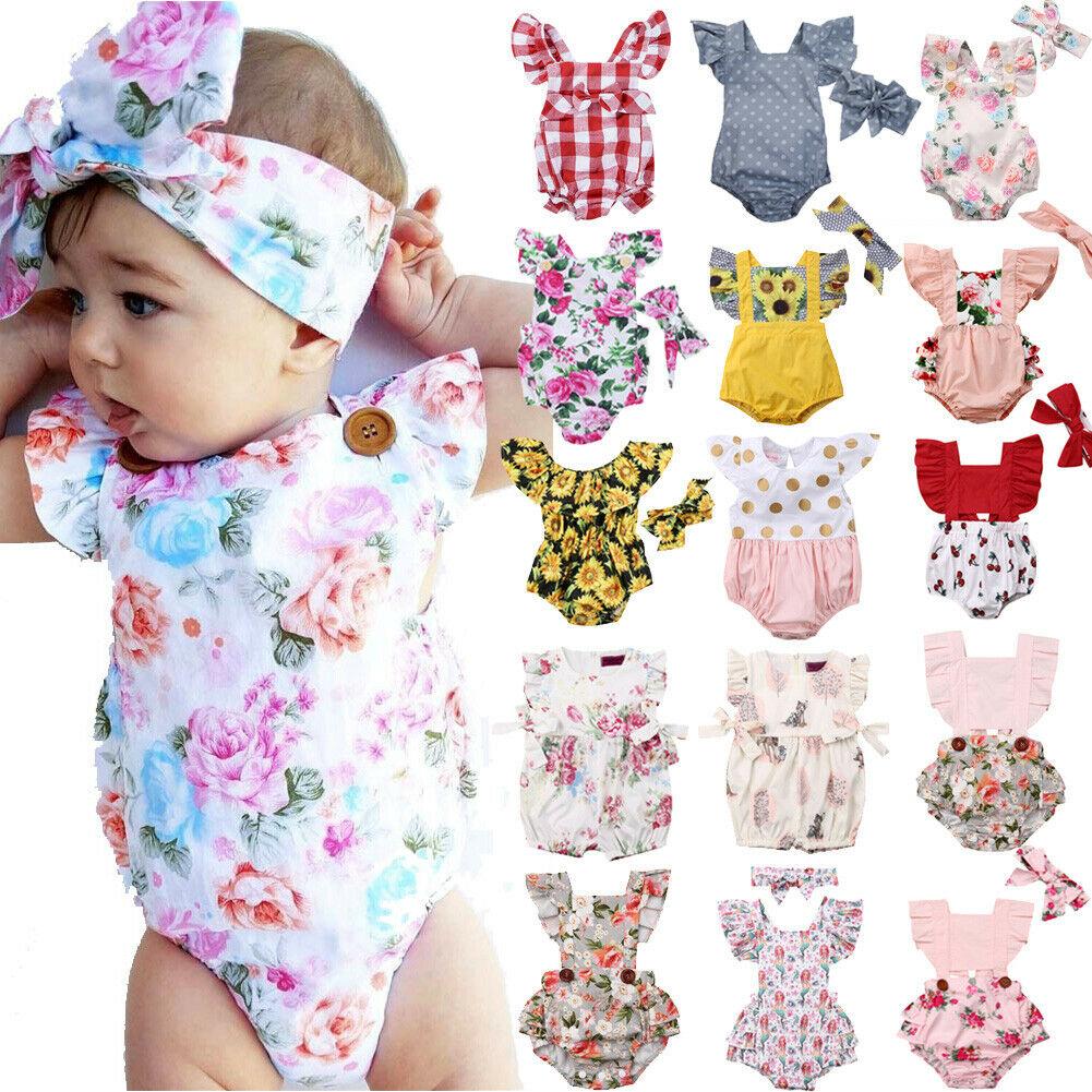 Newborn Baby Girl Flower Ruffle Romper Cotton Bowknot Cotton Sunsuit Headwear Bodysuit Plaid Clothes Outfit Set Jumpsuit 0-24M
