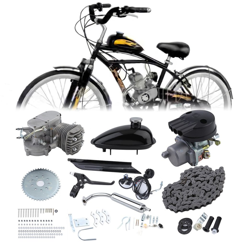 2 Stroke 50cc Bicycle Gas Motorized Engine Bike Motor Kit Cycle Engine Complete Set DIY Bicycle Accessoriess