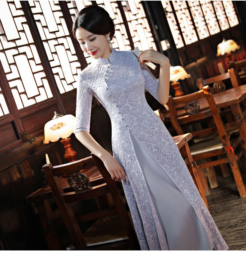 Chinese Style Improvement Cheongsam Long With Short Sleeves Dress Temperament Lace Flower Pattern Cheongsam Printed Cheongsam