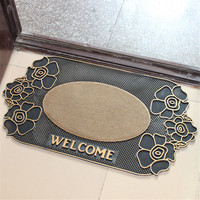 Europe Style Rose Doormat Front Door Natural Rubber Welcom Carpet Outdoor Antislip Mat For Kitchen Bathroom Semicircular Footmat