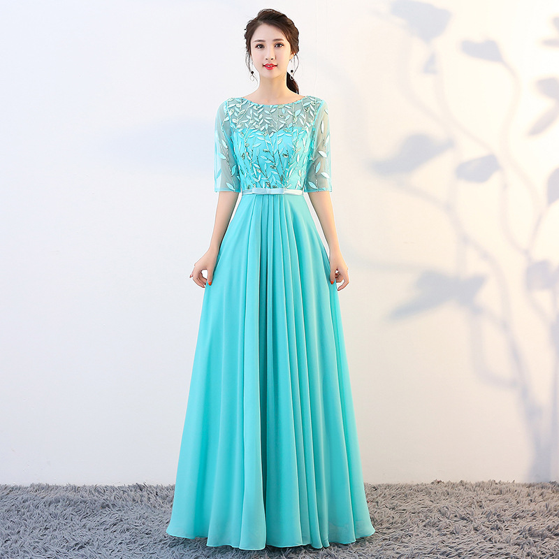 Evening Dresses Lace Top Sequined A Line Formal Party Gowns O-Neck Half Sleeve Elegant Dress Sexy Zipper Back Women Vestido K244