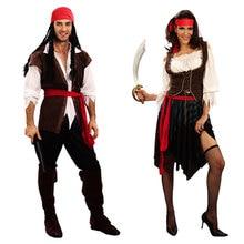 Umorden cadılar bayramı karnaval parti kostüm kaptan korsan kostümleri yetişkin fantezi Cosplay elbise kadın erkek çiftler için