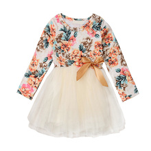 Fashion Spring Autumn Casual Baby Girl Floral Printing Long Sleeve Mesh Princess Dress