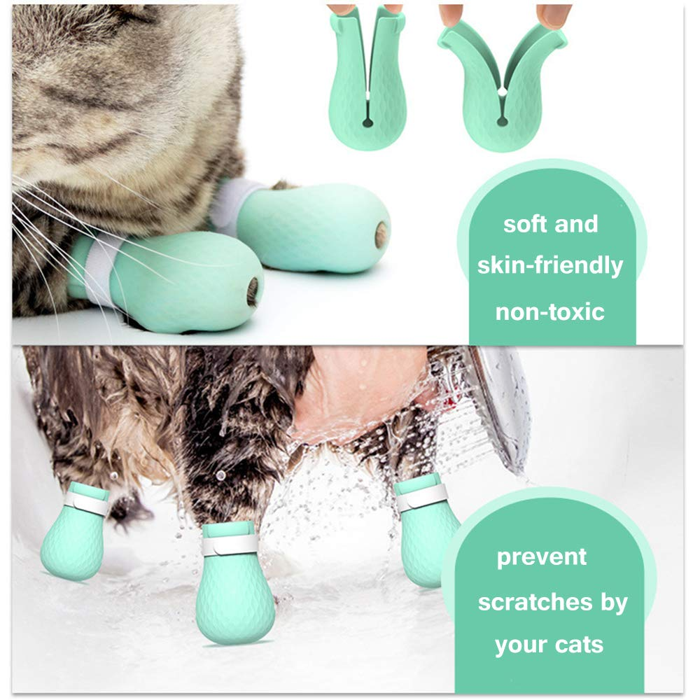 Anti Scratch Cat Shoes Adjustable Pet Cat Paw Protector for Bathing Soft Silicone Cat Grooming supplies