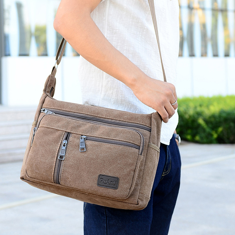 Good Qualtiy Men Travel Bag Canvas Casual Men Shoulder Crossbody Outdoor Bags Mens Travel School Retro Zipper Shoulder Bag
