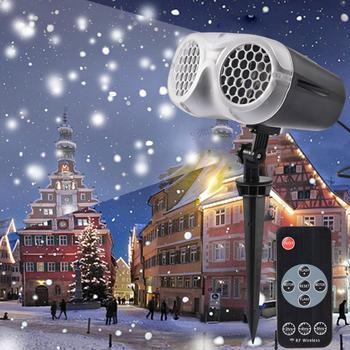 Płatek śniegu LED projektor laserowy biały burzy śnieżnej światło sceniczne zdalnie sterowana wodoodporna lampa ogrodowa boże narodzenie dekoracje na domowe przyjęcie tanie i dobre opinie LAIDEYI CN (pochodzenie) Efekt oświetlenia scenicznego Mini Other Christmas snowstorm projector 90-240 V Domowa rozrywka