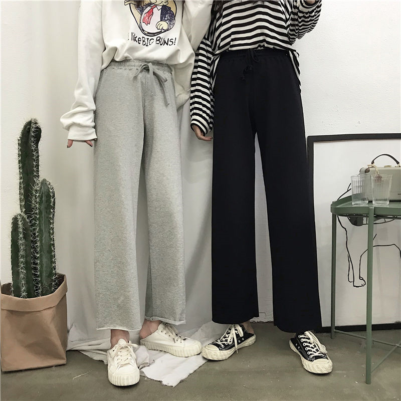 cotton wide leg pants women 2019 ins winter Breathable plus size harajuku gothic trousers female palazzo pants capri Culottes