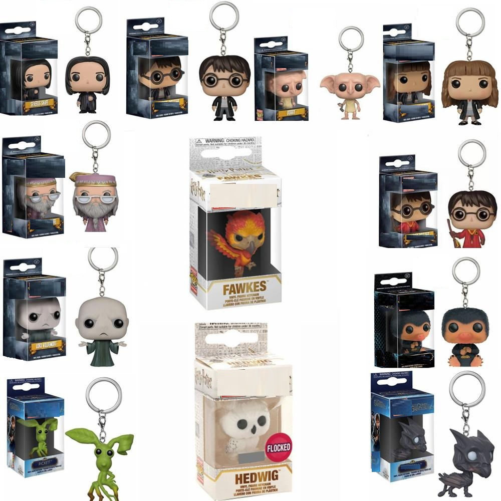 FUNKO New POP HARRI POTTER FAWKES HEDWIG DOBBY Action Figure Keychain HERMIONE VOLDEMORT Collection Pedant Key Ring Kids Gift