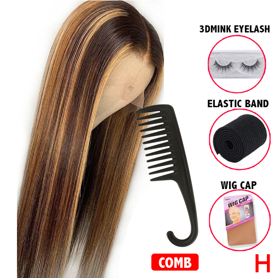 #4/27 Highlight Colored Human Hair Wigs Honey Blonde 360 Lace Frontal Wig Brazilian Remy Pre Plucked Lace Front Human Hair Wigs