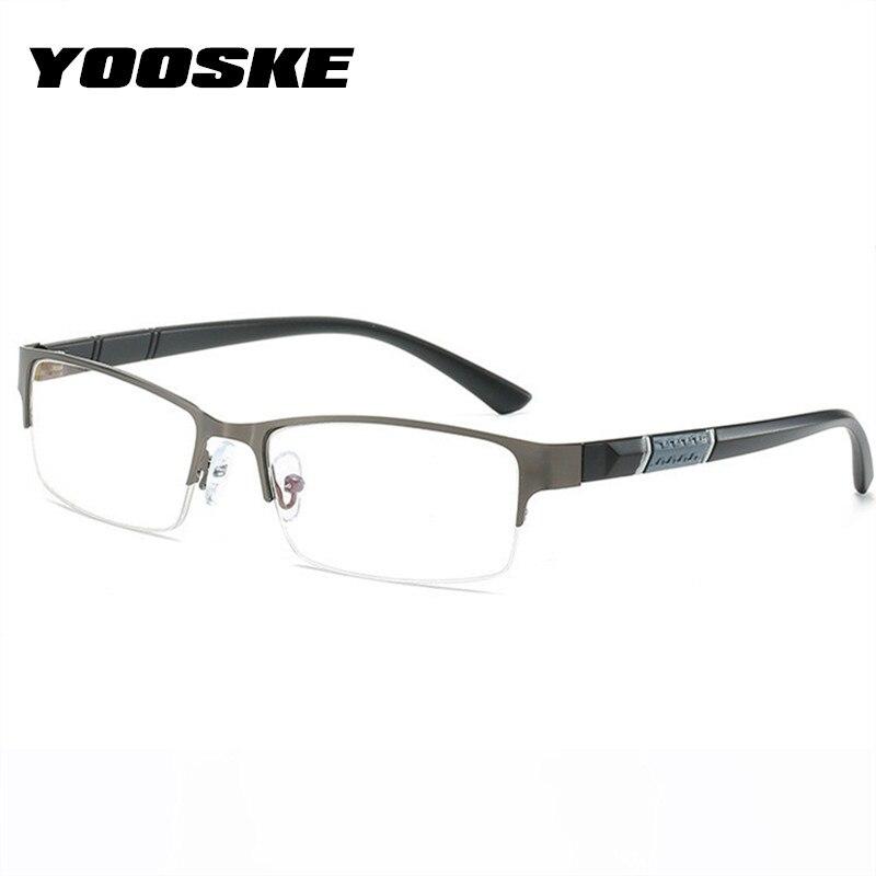 YOOSKE -0.5 -1 -1.5 -2 -2.5 -3 -3.5 -4.0 -4.5 Finished Myopia Glasses Men Anti Blue Light Metal Half Frame Eyeglasses Unisex