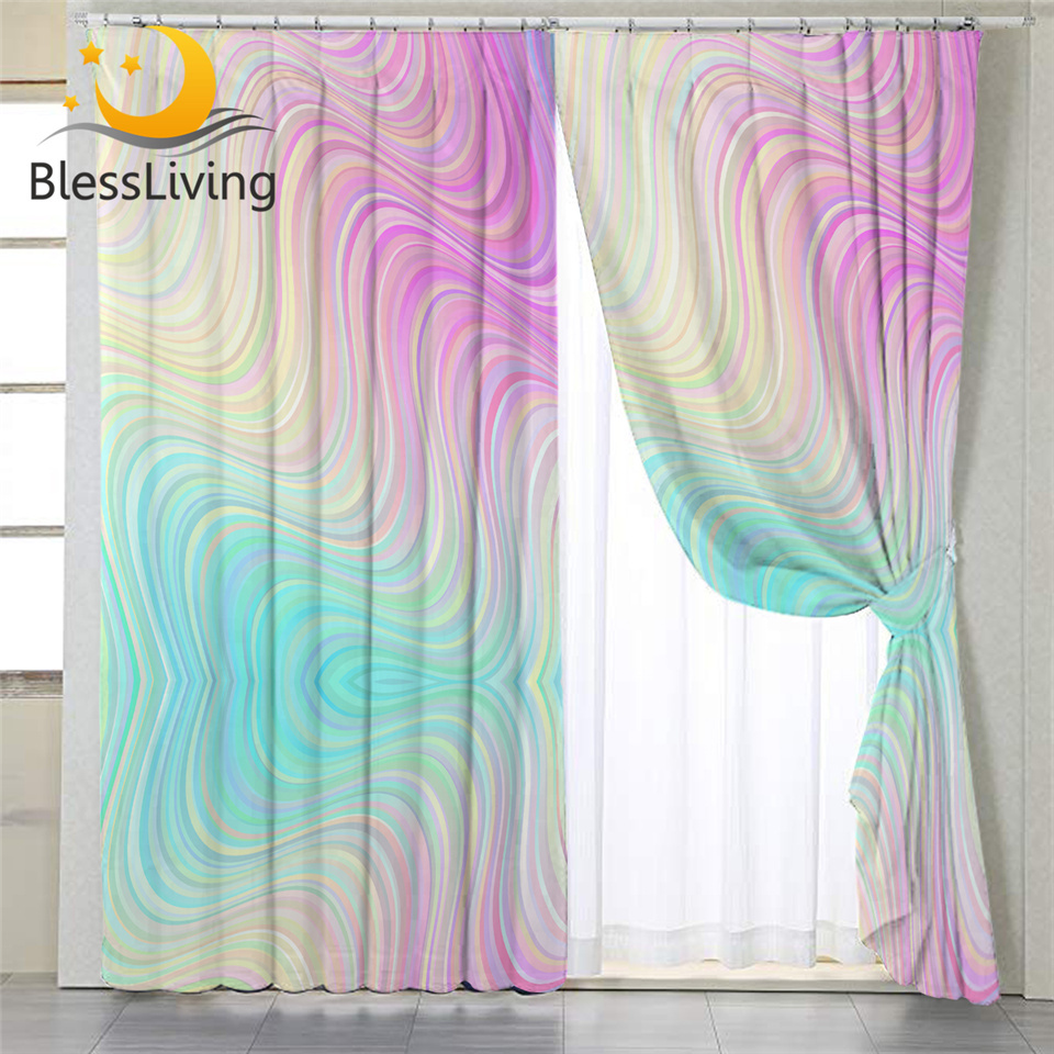 Blessliving Marble Curtain For Living Room Colorful Girls Bedroom