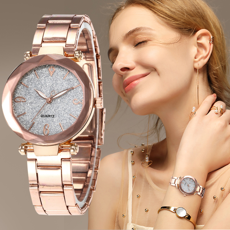 Hot Sell Women Watches Star Sky Dial Clock Luxury Ladies Stainless Steel Rose Gold Bracelet Wrist Watches Gift Reloj Mujer