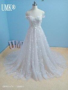 Image 3 - Umk 2020 Vestido De Noiva 3D Abito da Sposa in Pizzo Sexy Al Largo Della Spalla Vedere Attraverso Tulle Una Linea di Abiti da Sposa