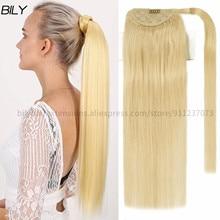 Extension capillaire queue de cheval 100% naturelle Remy – billy, cheveux lisses et longs à enrouler, 12 à 24 pouces, avec bande magique blonde, pour femmes