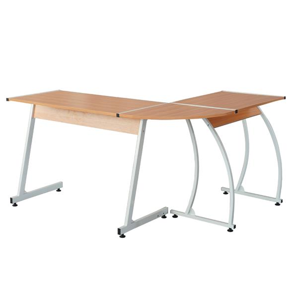 Wood Color L-Shaped Durable E1 15MM Chipboard & 0.7mm Steel Arc Legs Splicing Computer Desk For Teachers Students Businessmen