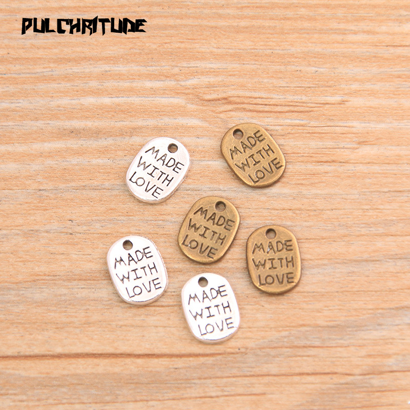 Подвески PULCHRITUDE, 60 шт., 8*11 мм, двухцветные Подвески с надписью «MADE WITH LOVE», винтажные Подвески ручной работы для самостоятельного изготовления...