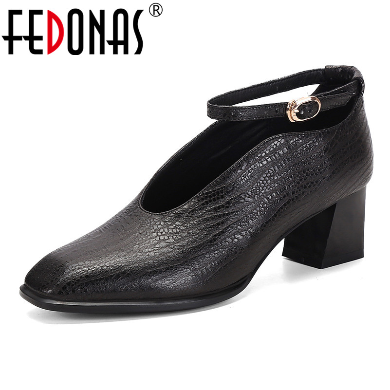 FEDONAS Square Toe Women High Heels Buckle Pumps Shallow Casual Office Shoes Woman Genuine Leather Spring Autumn Shoes Female