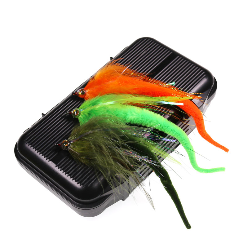 1Box=10PCS 6 Colors Dragontail Fly for Bass or <font><b>Muskie</b></font> Fishing <font><b>Lures</b></font> <font><b>Big</b></font> Game Saltwater Baitfish Fishing Streamer Fly 2/0 Hook image