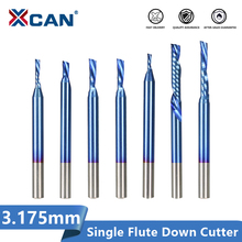 XCAN один флейта фреза левая рука вниз резак для дерева 3.175 мм хвостовик нано синий покрытием торцевая фреза карбида маршрутизатор бит