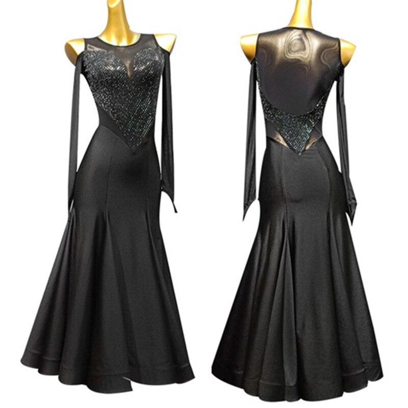 Sexy Ballroom Dress Standard Dance Dress For Dancing Waltz Dress Fringe Sequins Long Dress Tango Black Evening Dress For Women