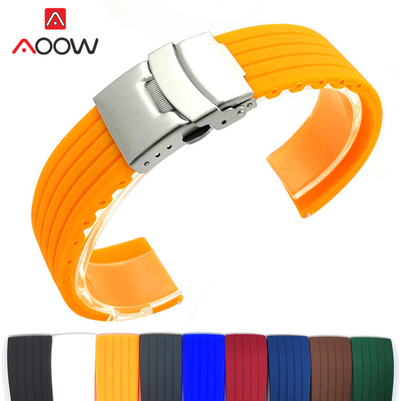 Silicone Sport Strap 18mm 20mm 22mm 24mm Folding Buckle Waterproof Rubber Men Replacement Bracelet Band Watch Accessories Red