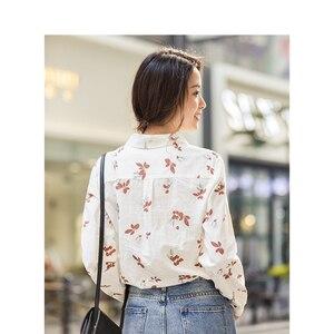 Image 2 - INMAN Winter 100%Cotton Turn Down Collar Literary Floral Loose Long Sleeve Women Blouse