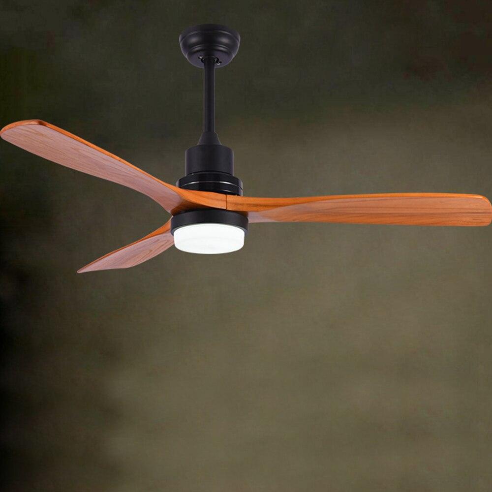 Vintage ventilateur de plafond bois télécommande lampe ventilateurs avec lumières décor industriel AC 220v moderne nordique 3 lame en bois livraison directe