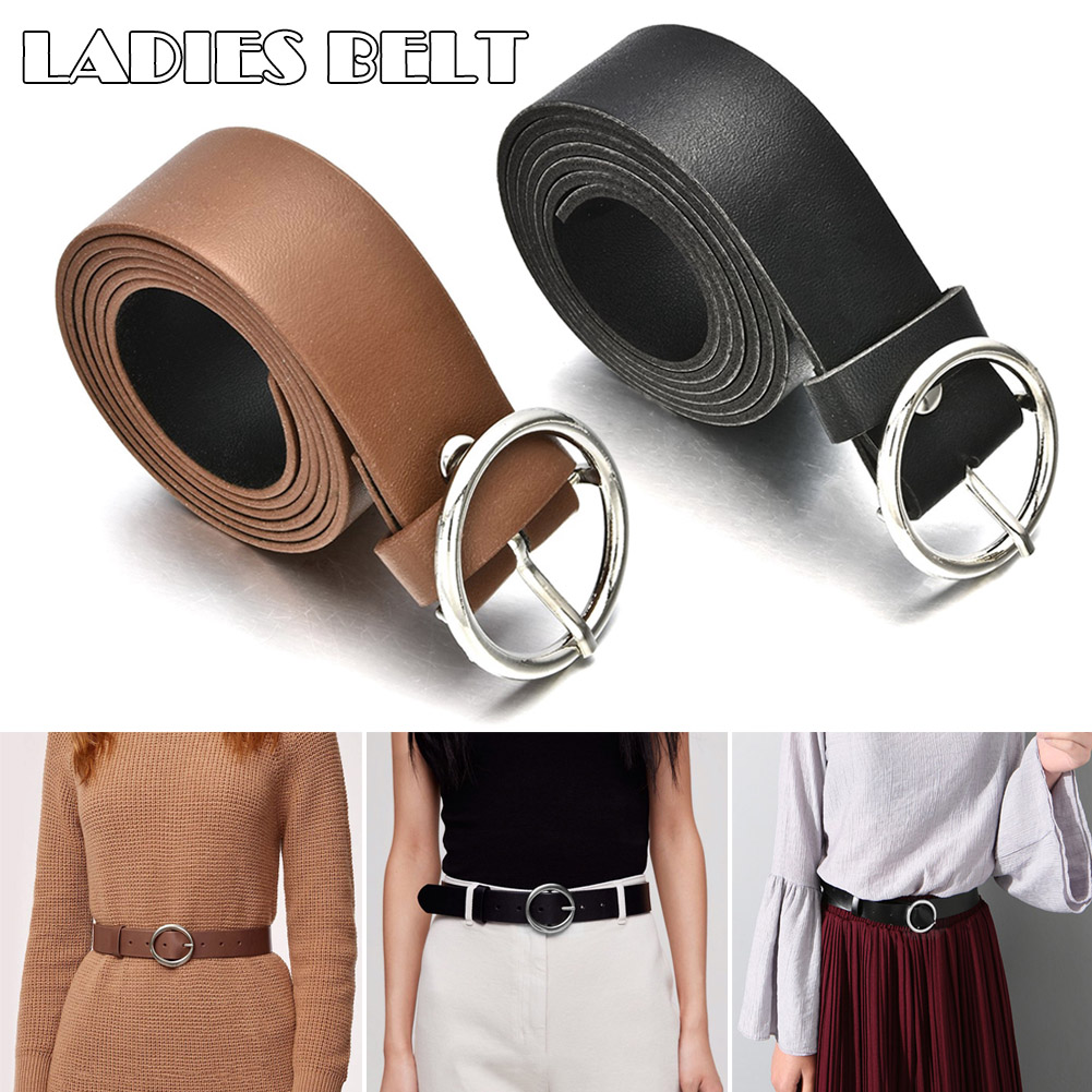Best Women Faux Leather Belt Jeans Belts For Women Dresses Classic Round Alloy Pin Buckle Solid Waistband Wide Belt Strap TC21