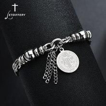 Letdiffery – Bracelets en acier inoxydable réglables pour femme, médaille de Saint bénisse religieux, pour crèche