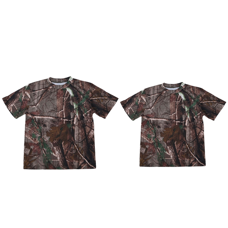 2Pcs New Outdoor Hunting Camouflage T-Shirt Men Breathable Combat T Shirt Dry Sport Camo Camp Tees-Tree Camouflage L & XXL