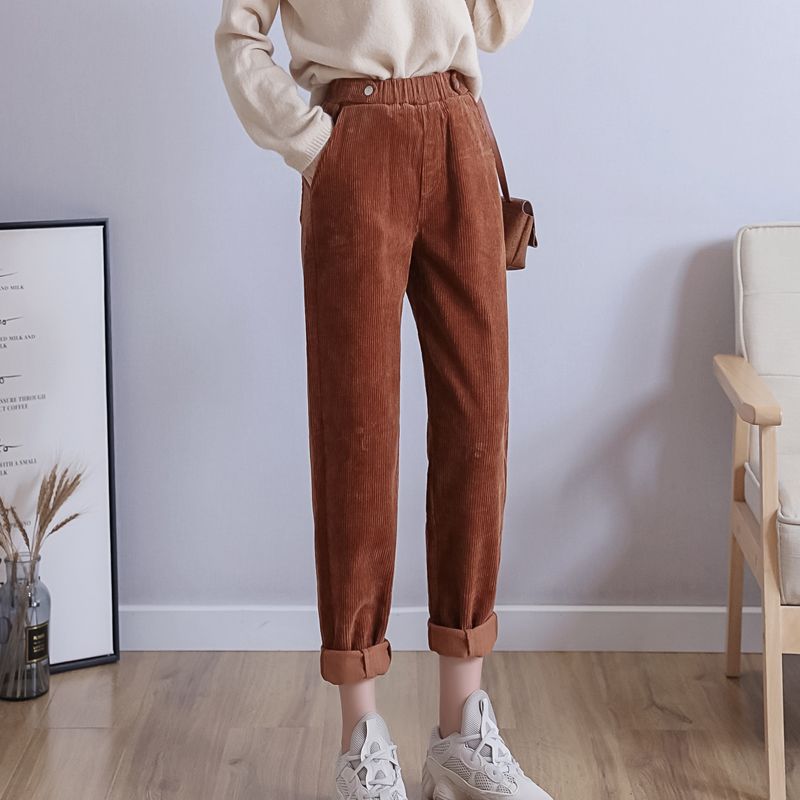 Corduroy Pants For Women  Autumn  High Waist  Plus  Size Elastic Waist  Trousers Pockets Khaki  Black  Harem Pants 5xl