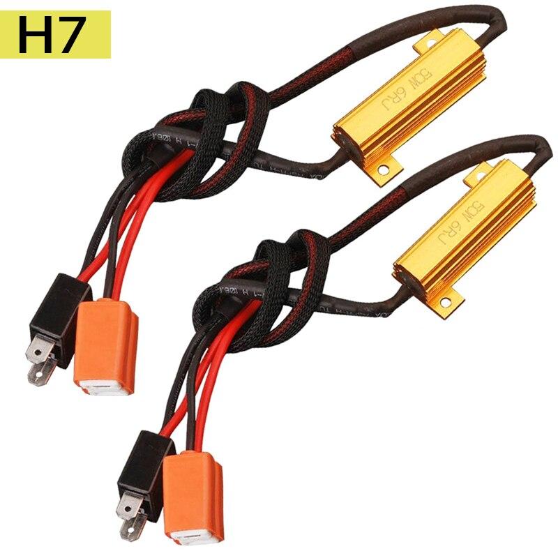 2PCS Canbus Load Resistor H7 50W 6RJ Canbus Decoder Warning Canceler Decoder Light Error Free 12V Resistance Harness Adapter