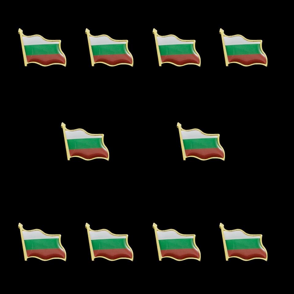 10PCS Bulgaria Flag Zinc Alloy Epoxy Lapel Pins Badge/Brooch Decorations