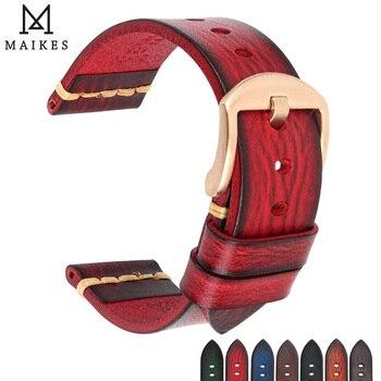 Maikes Genuine Leather Watchband for Galaxy gear s3 Watch Strap 18mm 20mm 22mm 24mm Watch Band Men Women Omega Wrist Bracelets