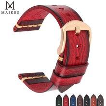 Maikes pulseira de relógio de couro genuíno, para galaxy gear s3 18mm 20mm 22mm 24mm pulseiras masculinas e femininas omega, braceletes de pulso