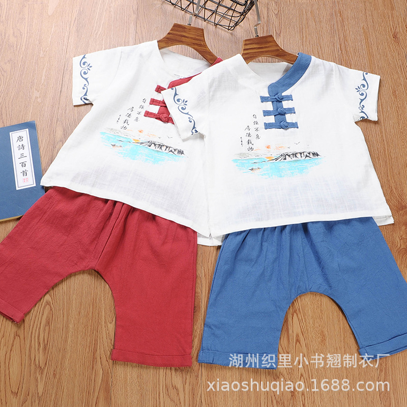 Children Chinese Costume Summer BOY'S Chinese Clothing Set Baby The Republic Of China-Style Printed Short Sleeve Set Kids Chines