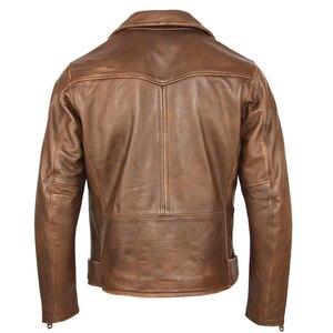 Image 2 - خمر دراجة نارية سترة الرجال سترة جلدية سميكة 100% الطبيعي جلد البقر السائق سترة موتو حقيقية معطف جلد الشتاء M457