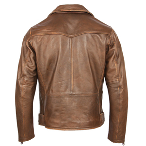 Image 2 - Vintage Motorcycle Jacket Men Leather Jacket Thick 100% Natural Cowhide Biker Jacket Moto Genuine Leather Coat Winter M457