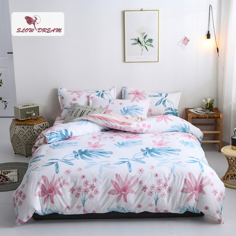 SlowDream Fashion Pastoral Flower Bedding Set Printed Duvet Cover Comforter Single Double Flat Sheet Bed Linen Bed Set Wholesale