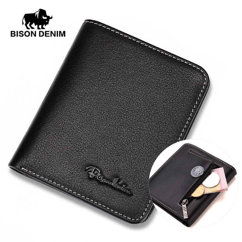 BISON DENIM Men Wallets Black Genuine Leather Purse For Men Business Card Holder Men's Wallet Mini N4429