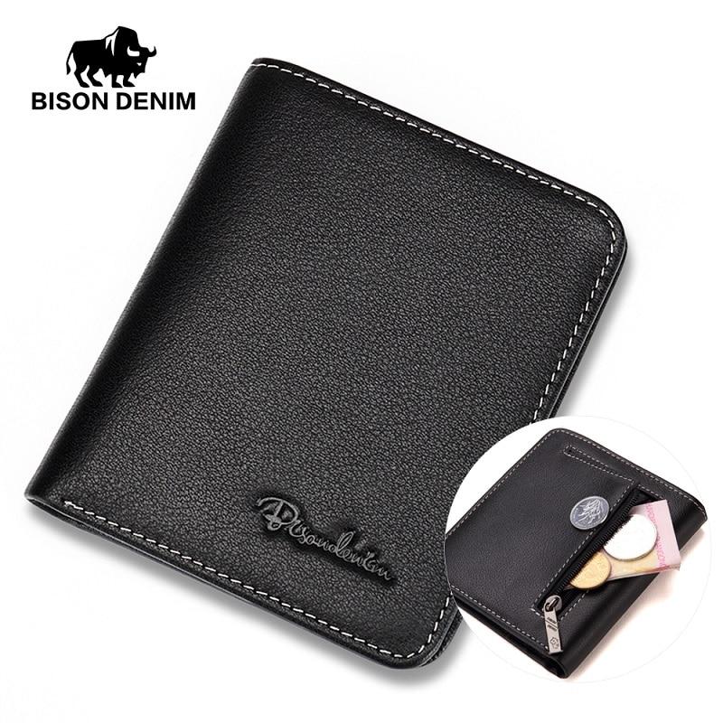 BISON DENIM Men Wallets Black Genuine Leather Purse For Men Business Card Holder Men's Wallet Mini N4429
