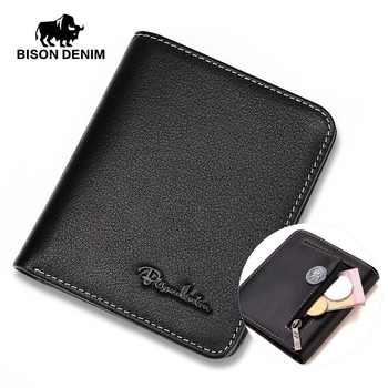 BISON DENIM Men Wallets Black Genuine Leather Purse For Men Business Card Holder Men\'s Wallet Mini N4429 - DISCOUNT ITEM  63 OFF Luggage & Bags