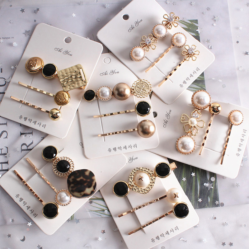 Elegant Pearl Hair Clips Korea Design Hairpins Geometric Flower Barrette Women Gold Hairgrip Hair Styling Accessories 3PCS