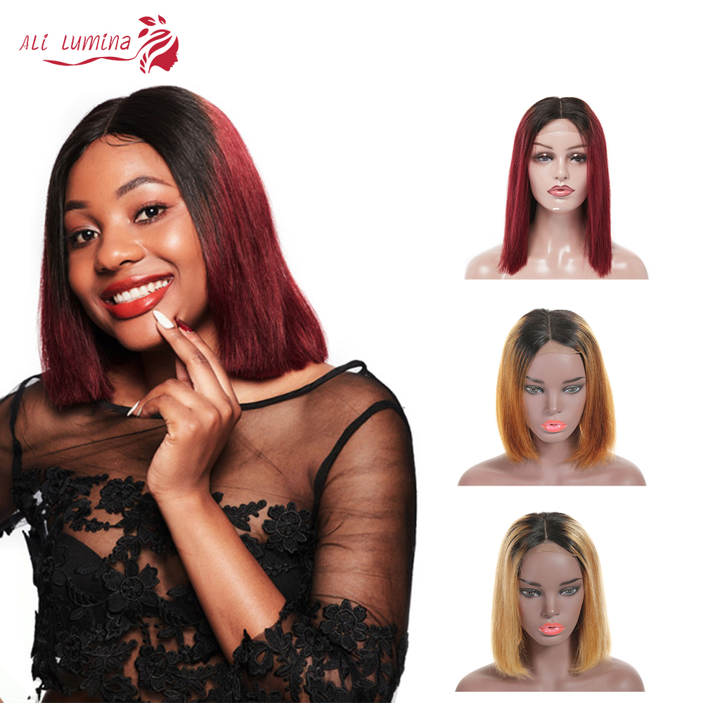 Ombre Short Bob Wigs Straight  Wigs  Virgin Hair Wigs Pre Plucked Natural Hair Line 4x4 Lace Closure Wig 1