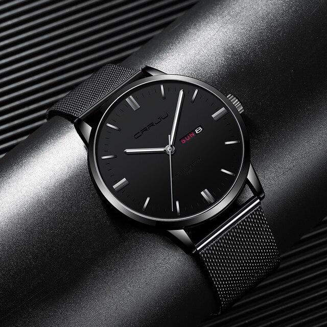 Męskie zegarki Top luksusowa marka CRRJU zegarek analogowy mężczyźni ze stali nierdzewnej wodoodporny zegarek kwarcowy data Relogio Masculino