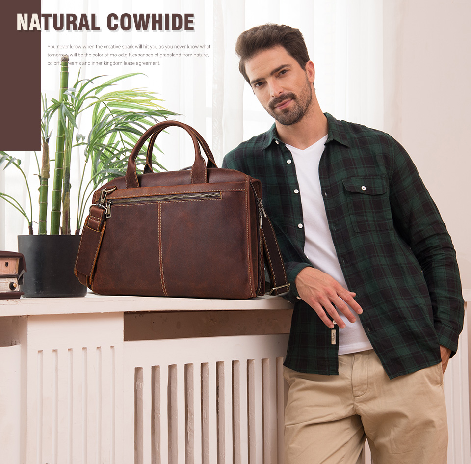 Men Briefcase Bag Leather Comfortable Laptop Handbag 2021 2
